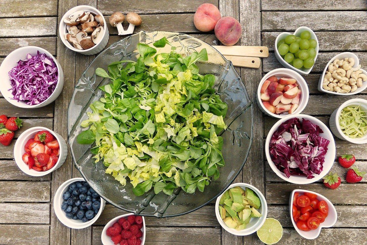 salad, fruits, berries